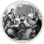 New Years Party, 1857 Round Beach Towel