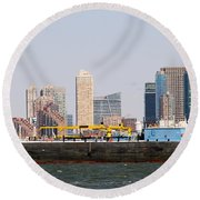 New York And The Barge Round Beach Towel