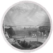 New York Bay, 1838 Round Beach Towel