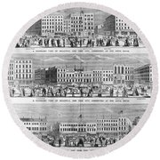 New York: Broadway, 1851 Round Beach Towel
