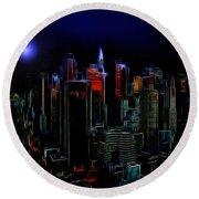 New York By Moonlight Round Beach Towel