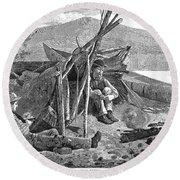 New York: Camping, 1874 Round Beach Towel
