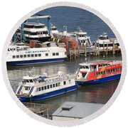 New York City Sightseeing Boats Round Beach Towel