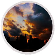 New York City Skyline At Sunset Under Clouds Round Beach Towel