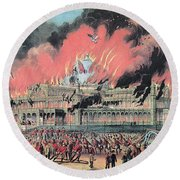 New York Crystal Palace Fire, 1858 Round Beach Towel by Photo Researchers