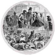 New York: Dog Pound, 1866 Round Beach Towel