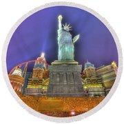 New York In Las Vegas Round Beach Towel by Nicholas  Grunas