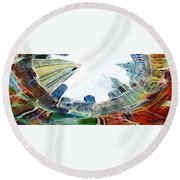 New York Looking Up The Sky Round Beach Towel