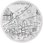 New York Map, 1730 Round Beach Towel