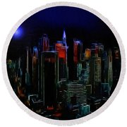 New York Midnight Round Beach Towel