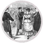 New York Police Raid, 1875 Round Beach Towel