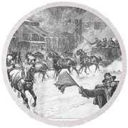 New York: Snowstorm, 1887 Round Beach Towel