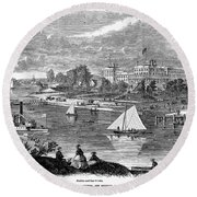 New York State: Hotel, 1862 Round Beach Towel