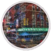 New York Street Round Beach Towel