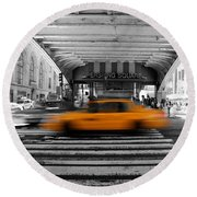 New York Taxi 1 Round Beach Towel