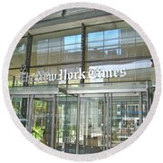 New York Times Reflection Round Beach Towel