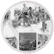 New York: Wash Day, 1889 Round Beach Towel