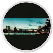 New Yorks Skyline At Night Ice 1 Round Beach Towel