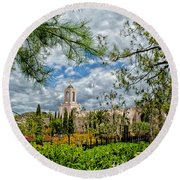 Newport Beach Temple Pine Round Beach Towel