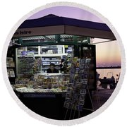 Newsstand In Croatia Round Beach Towel