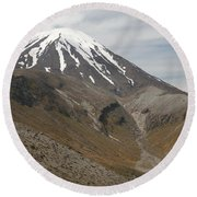 Ngauruhoe Cone And Upper Tama Lake Round Beach Towel