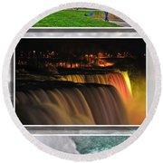 Niagara Falls Usa Triptych Series Round Beach Towel