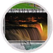Niagara Falls Usa Triptych Series With Text Round Beach Towel