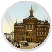 Nicolaus Copernicus Monument In Warsaw Poland Round Beach Towel by International  Images