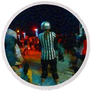 Night At The Roller Derby Round Beach Towel