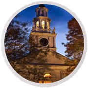 Night Church Round Beach Towel