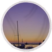 Night Falls Over Rovinj Round Beach Towel