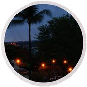 Night Lights On The Mountain Round Beach Towel