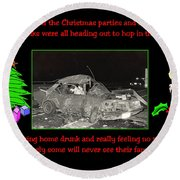 Night Of Christmas Round Beach Towel