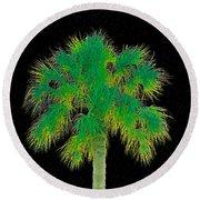 Night Of The Green Palm Round Beach Towel