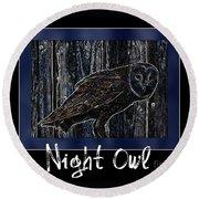 Night Owl Poster - Digital Art Round Beach Towel