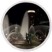 Night View Of Swann Fountain Round Beach Towel by Bill Cannon
