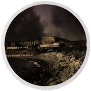 Nightfall Over Hard Time - San Quentin California State Prison - 5d18454 - Partial Sepia Round Beach Towel
