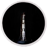 Nighttime View Of The Apollo 10 Space Round Beach Towel