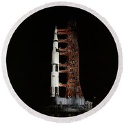 Nighttime View Of The Apollo 13 Space Round Beach Towel
