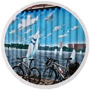 No Fossil Fuels Required Round Beach Towel