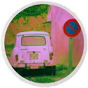 No Parking Sign With Pink Car Round Beach Towel