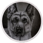 Noble - German Shepherd Dog  Round Beach Towel
