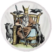Norse God Odin (woden) Round Beach Towel