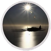 North American T-6 Texan Trainer Round Beach Towel