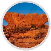 North And South Windows Round Beach Towel