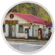 North Carolina Country Store And Gas Station Round Beach Towel