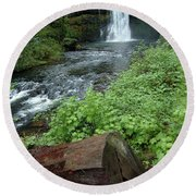 North Falls In Oregon Round Beach Towel