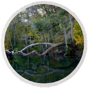 North Florida River Reflections Round Beach Towel