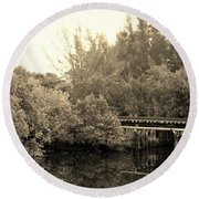 North Fork River In Sepia Round Beach Towel