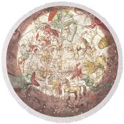 Northern Boreal Hemisphere From The Celestial Atlas Round Beach Towel by Pieter Schenk